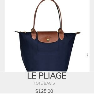 Long Champ Le Pliage Navy & Brown foldable tote